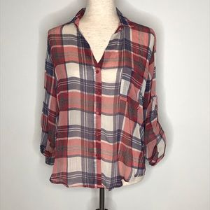 Band of Gypsies sheer button up red plaid top